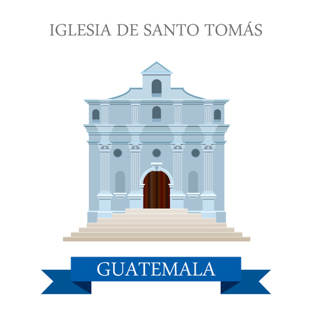 roman catholic: Iglesia de Santo Tomás in Guatemala. Flat cartoon style historic sight showplace attraction web site vector illustration. World countries cities vacation travel sightseeing Central America collection.