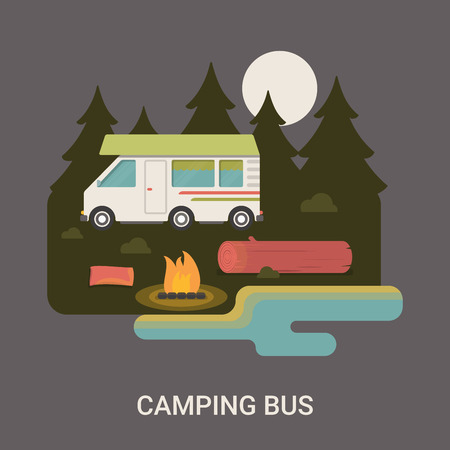 log deck: Trip and journey camping bus in moon light. Camp station   brochure vector flat style illustration. Campfire at night lake trees log deck spruce fir-tree on nature grey dark background. Illustration