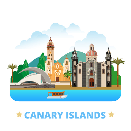 cartoon style: Canary Islands flat cartoon style historic sight web site vector illustration. World vacation travel Africa African collection. Iglesia de la Concepcion Basilica Candelaria Auditorio de Tenerife.