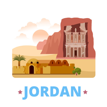 asia style: Jordan country fridge magnet design template. Flat cartoon style historic sight showplace web site vector illustration. World vacation travel sightseeing Asia Asian collection. Petra Qasr Amra.