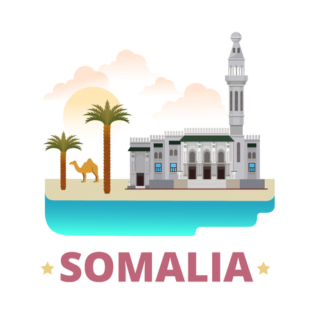 sightseeings: Somalia country magnet design template. Flat cartoon style historic sight showplace web vector illustration. World vacation travel sightseeing Africa African collection. Mosque of Islamic Solidarity.