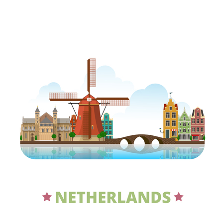 Netherlands country design template. Flat cartoon style historic sight showplace web site vector illustration. World vacation travel Europe European collection. Old Dutch Windmill Binnenhof bridge.