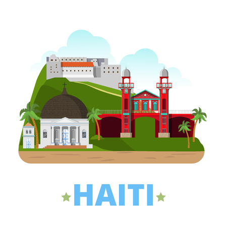 cathedrale: Haiti country design template. Flat cartoon style historic sight showplace web vector illustration. World vacation travel America collection. Citadelle Laferriere Marche de Fer Cathedrale de Milot.