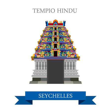 seychelles: Tempio Hindu in Victoria in Seychelles. Flat cartoon style historic sight showplace attraction web site vector illustration. World countries cities vacation travel sightseeing Africa Island collection Illustration