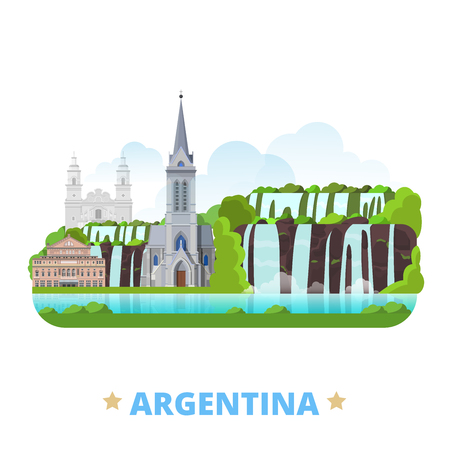 Argentina country flat cartoon style historic sight web site vector illustration. World vacation travel America collection. Jesuit Block and Estancias Teatro Colon Cathedral of San Carlos de Bariloche Çizim