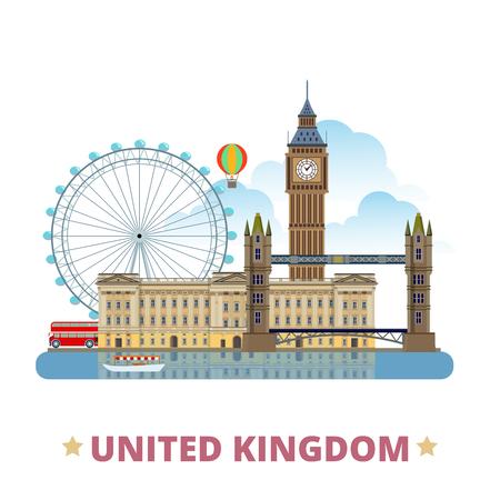Modelo del diseño de Reino Unido. estilo de dibujos animados plana vista escaparate histórico ilustración vector sitio web. vacaciones viajes mundiales recogida Europa. Buckingham Palace grande de la interdicción en el puente de la torre London Eye.