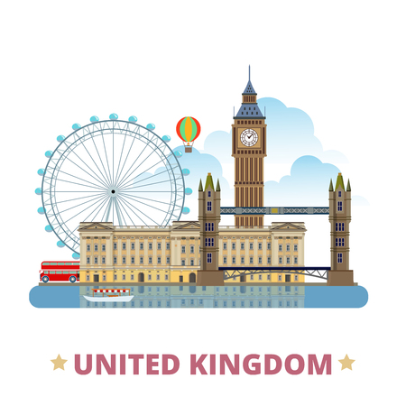 United Kingdom design template. Flat cartoon style historic sight showplace web site vector illustration. World vacation travel Europe collection. Buckingham Palace Big Ban in London Eye Tower Bridge.