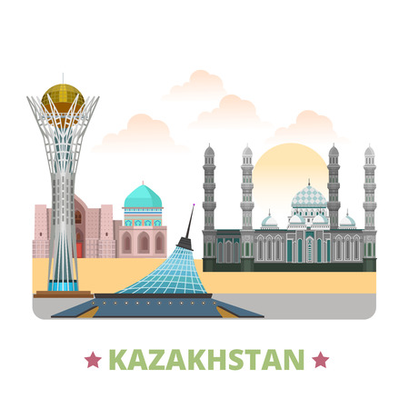 asia style: Kazakhstan country design template. Flat cartoon style historic sight vector illustration. World travel Asia collection. Bayterek Hazrat Sultan Mosque Khan Shatyr Entertainment Center Turkestan City.