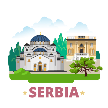 the country: Serbia country design template. Flat cartoon style historic sight showplace web site vector illustration. World travel Europe European collection. Church of Saint Sava Nikola Tesla Museum in Belgrade. Illustration