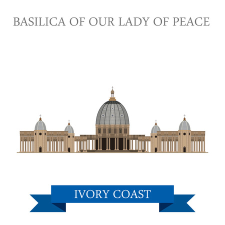 basilica: Basilica of Our Lady of Peace in Yamoussoukro Ivory Coast. Flat cartoon style historic sight showplace attraction web site vector illustration. World countries cities sightseeing Africa collection. Illustration