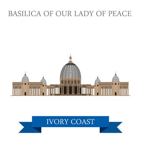 Basílica de Nuestra Señora de la Paz en Yamoussoukro Costa de Marfil. estilo de dibujos animados plana de vista histórico ilustración escaparate sitio de atracción de vectores web. Países Ciudades mundo Visitas colección África.