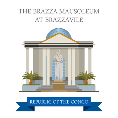 mausoleum: The Brazza Mausoleum at Brazzaville in Republic of the Congo. Flat cartoon style historic sight showplace attraction web site vector illustration. World countries cities vacation travel collection.