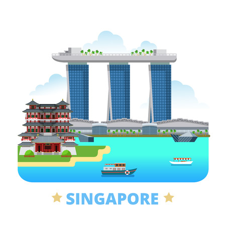 marina bay sand: Singapore country design template. Flat cartoon style historic sight showplace web vector illustration. World vacation travel sightseeing Asia Asian collection. Marina Bay Sands Buddha Tooth Relic.