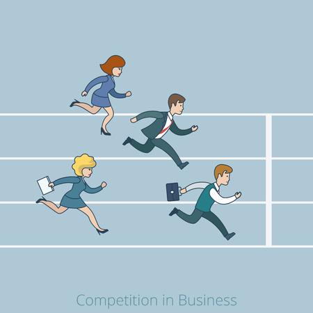 línea arte lineal Competencia estilo plano en el concepto de línea de meta negocios. Empresario de la historieta de negocios running competencia pista del estadio ilustración vectorial sea tarde. Lineas de personas colección.