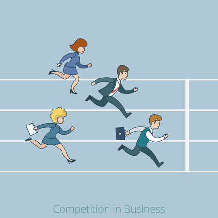 metaphoric: Linear line art flat style Competition in Business finish line concept. Cartoon businessman businesswoman run running competition stadium track be late vector illustration. Lineart people collection. Illustration