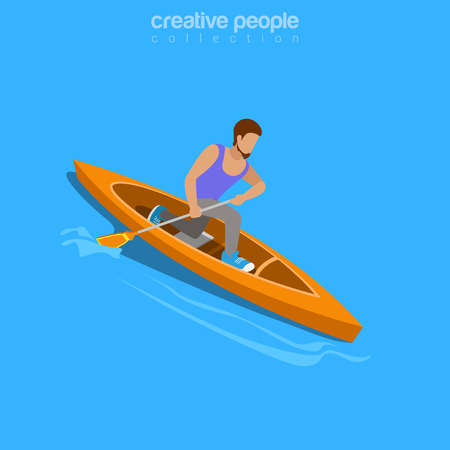rower: Life challenge concept. Isometric kayaker rafting raft sports. Flat 3d isometry web site conceptual vector illustration. Creative people collection. Illustration