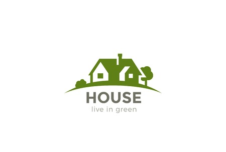 farm house: House  Real Estate abstract design vector template. Eco green Farm concept. Countryside residential  icon Negative space style Illustration