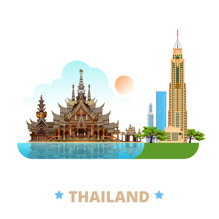 sightseeings: Thailand country design template. Flat cartoon style historic sight showplace web site vector illustration. World vacation travel Asia Asian collection. Sanctuary of Truth Baiyoke Tower II Bangkok. Illustration