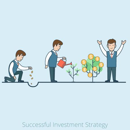 Linear Flat Businessman plant seeds, watering sprout, happy rejoice for grown coins vector illustration. Successful Investment Business Strategy concept.  イラスト・ベクター素材
