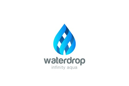 Water drop Infinity Loop design vector template. Droplet of aqua oil concept icon. Ilustração