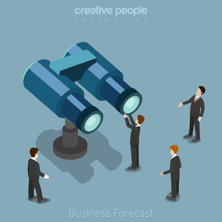 Flat isometric Businessman looking huge binoculars vector illustration.