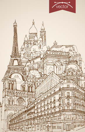 Engraving vintage hand drawn vector Paris, France travel. Pencil Sketch Eiffel Tower, Notre Dame de Paris, Arc de Triomphe sightseeing illustration. Illustration