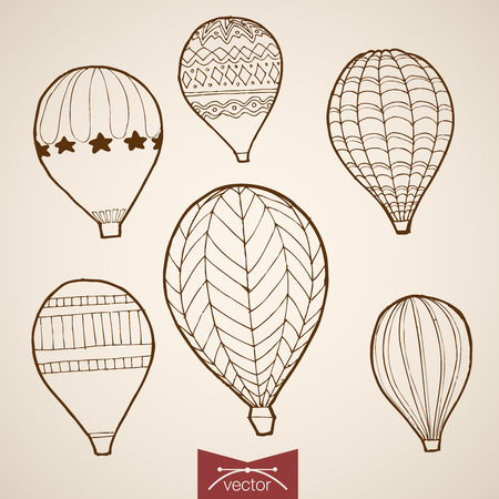 crosshatch: Balloon extreme tourism life style vacation icon set. Engraving style pen pencil crosshatch hatching paper painting retro vintage vector lineart illustration. Flying high star line hot air fun sport.