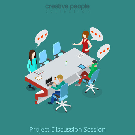 discuss: Flat isometric Business people discuss project in meeting room vector illustration. Business brainstorming 3d isometry concept.