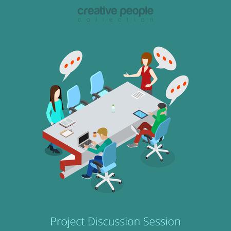 Plat isometrische Mensen uit het bedrijfsleven bespreken project in vergaderzaal vector illustratie. Zakelijke brainstorming 3d isometrie concept. Vector Illustratie