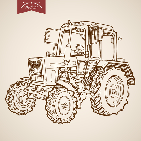 time drive: Engraving vintage hand drawn vector tractor image. Pencil Sketch Farm Machinery illustration.