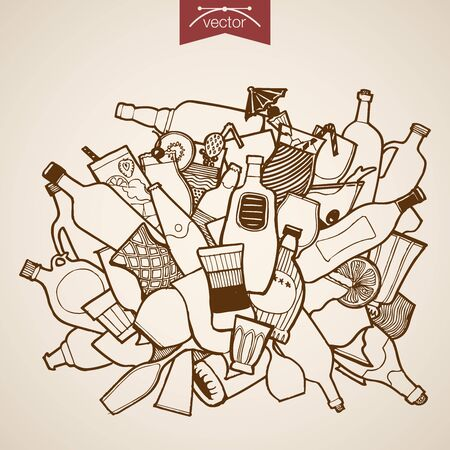 champaign: Engraving vintage hand drawn vector glass packaging. Pencil Sketch Cognac, wine, cocktail, champaign glass dishes bottle alcohol beverages capacity illustration.