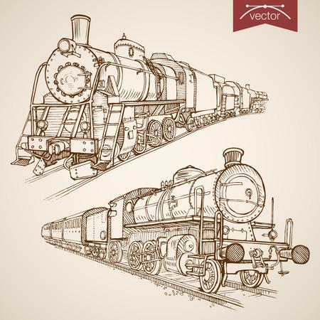 railway transport: Engraving vintage hand drawn vector retro train collection. Pencil Sketch railway transport illustration. Illustration