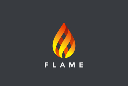 Fire Flame droplet design vector template. Burning inferno fireball concept icon.