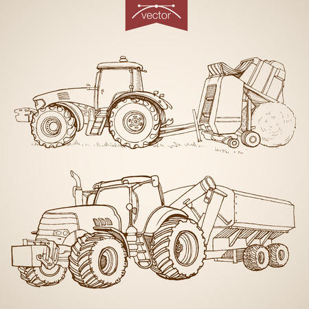 farm machinery: Engraving vintage hand drawn vector tractor and combine collection. Pencil Sketch Farm Machinery illustration. Illustration