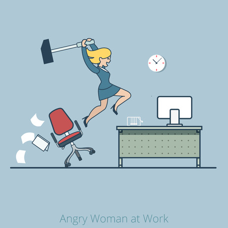 woman work: Linear Flat businesswoman crashing office desk with huge hummer vector illustration. Angry woman at work Business concept.