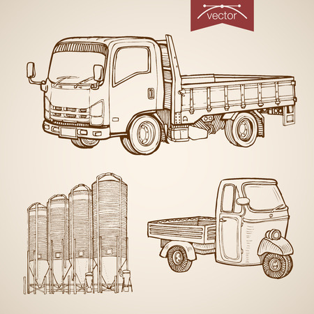 pencil plant: Engraving vintage hand drawn vector pickup, silos of concrete mixing plant collection. Pencil Sketch wheeled cargo transport illustration.