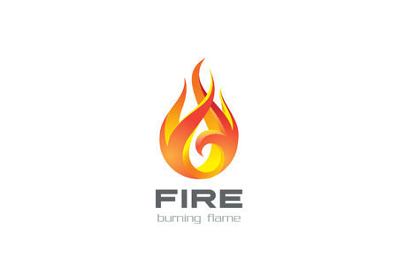 Fire Flame design vector template. Burning inferno fireball concept icon.