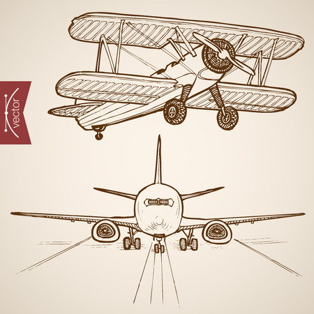 Engraving vintage hand drawn vector Air transport collection. Pencil Sketch Airplane, Plane flying evolution illustration.