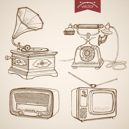 entertaining presentation: Engraving vintage hand drawn vector video music sound retro equipment collection. Pencil Sketch Phone, Gramophone, Radio, TV media illustration.