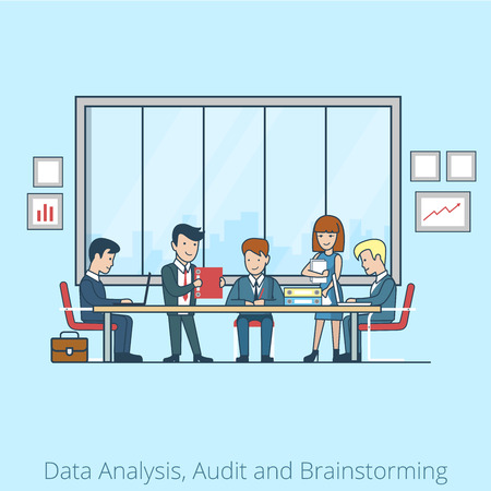 client meeting: Linear Flat Business people brainstorming in meeting room vector illustration.  Businessman, secretary, manager, client characters. Team Analysis, Audit, Planing concept.