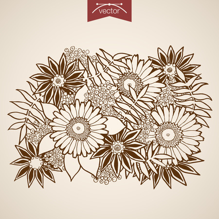 floristic: Engraving vintage hand drawn vector Flower bouquet. Pencil Sketch berry, chamomile floristic shop illustration. Illustration
