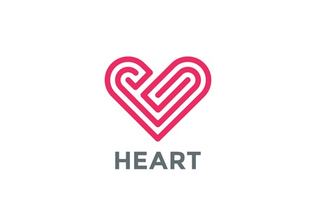 labirinth: Heart Labyrinth abstract design vector template. Love Valentines Day Linear style concept icon.