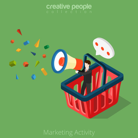 isometry: Flat isometric Businessman in huge basket with megaphone in hand vector illustration.   Marketing Activity business 3d isometry concept. Illustration