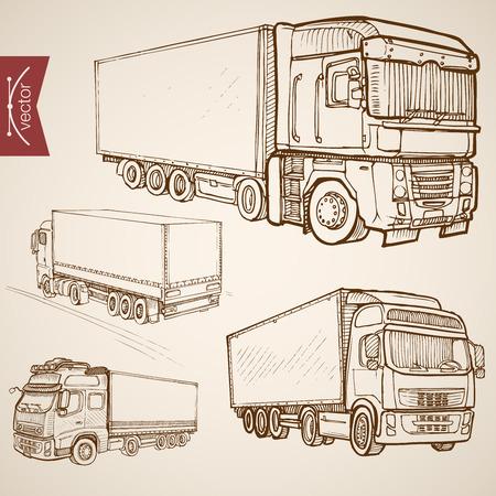 ciężarówka: Grawerowanie rocznika wyciągnąć rękę wektor Kolekcja transportu dostawy. Pencil Sketch ciężarówek, pojazdów ciężarowych Van ilustracji. Ilustracja
