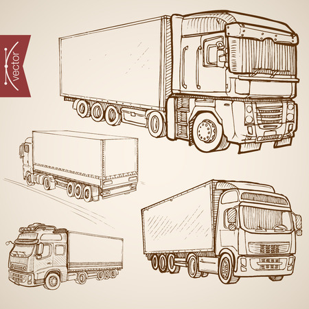 Engraving vintage hand drawn vector delivery transport collection. Pencil Sketch Truck, Van lorry vehicles illustration.
