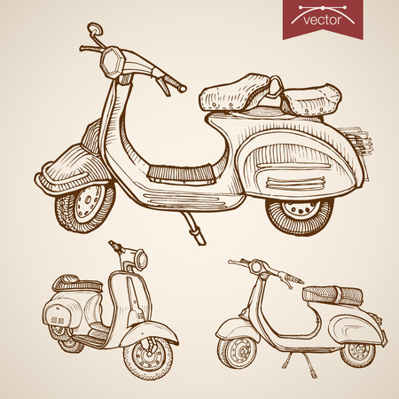 low tire: Engraving vintage hand drawn vector low speed moped, scooter collection. Pencil Sketch city courier delivery transport illustration.