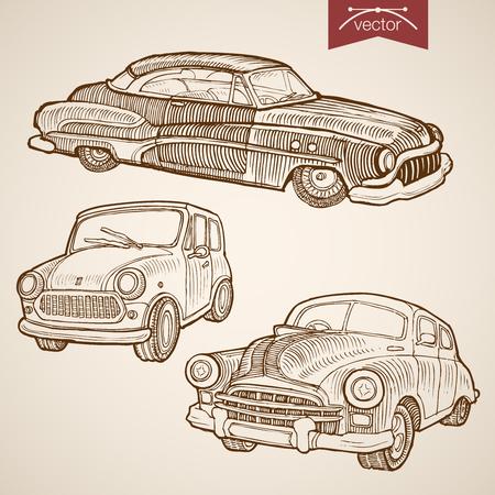 Engraving vintage hand drawn vector retro car collection. Pencil Sketch wheeled transport illustration.
