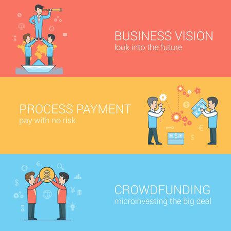 checkout line: Linear Flat crowdfunding, business vision, payment processing concepts set for website hero images. Businessmen holding leader, paying process, people holding coin vector illustration.