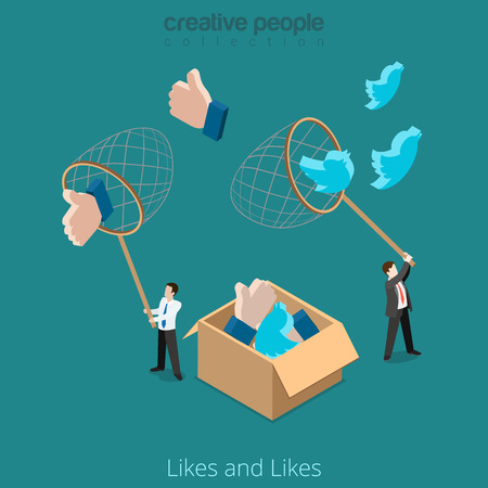 tweet icon: Flat isometric Businessman catch huge and Like sign with net vector illustration. Business Promotion in social network 3d isometry concept. Illustration