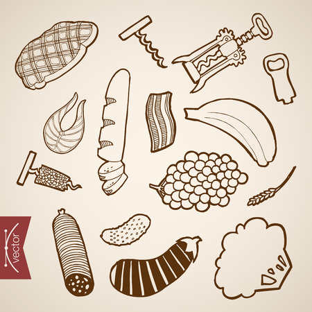 food shop: Engraving vintage hand drawn vector party snack collection. Pencil Sketch bread, banana, grapes, fish, cauliflower, cucumber, steak food shop illustration.